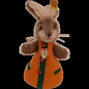 Wonderful Steiff  Bunny Rabbit Night Cap, Steiff Button, Steiff Chest Tag, 1968 1973