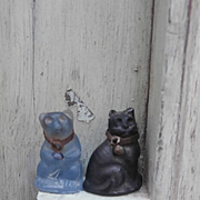 Early Rare Blue Glass Bear Charm and Lucky Black Cat Charm, Dolls House A/F