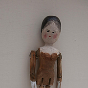 Unusual Early Peg Wood Doll with Bust