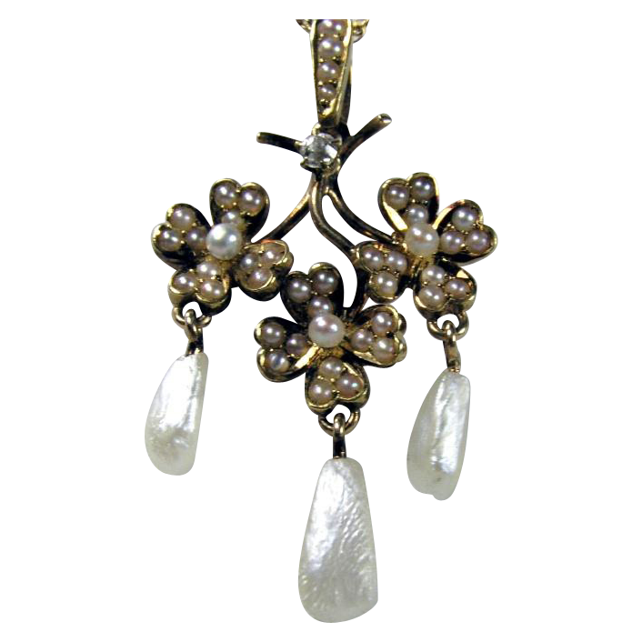 Delicate Pearl and Gold Nouveau Pendant