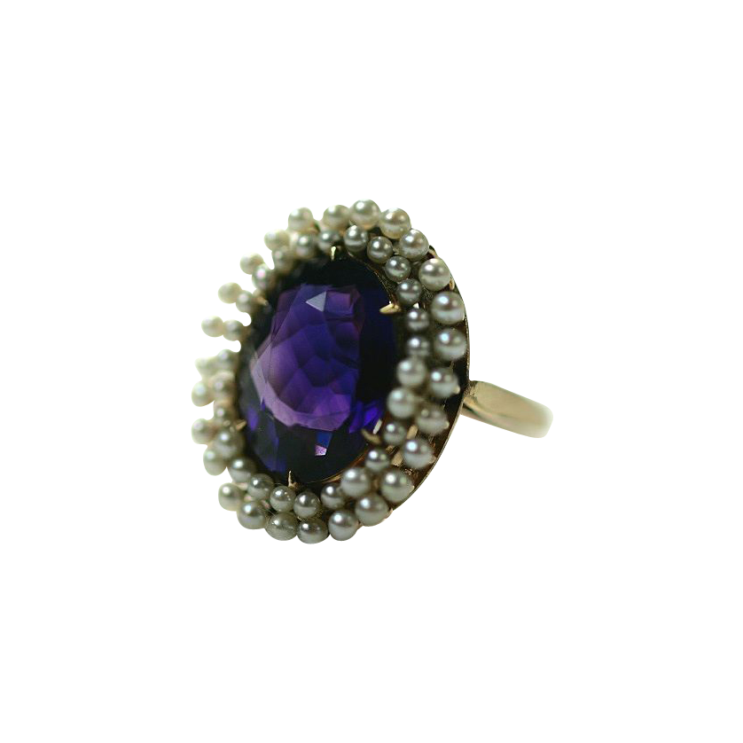 Glowing Amethyst and Pearl Ring