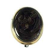 Superb Victorian Hairwork Brooch in Gold Mounting