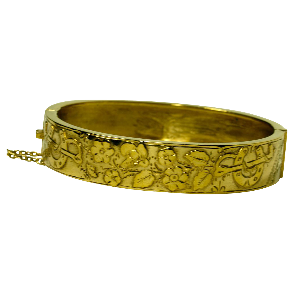 English Victorian Sterling Bracelet with Gold Wash