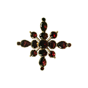Georgian Foiled Garnet Brooch/Pendant in Rose Gold