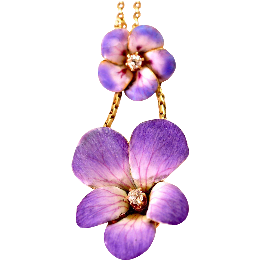 Delicate&Feminine Art Nouveau Enamel Pendant with Double Flowers & Diamonds