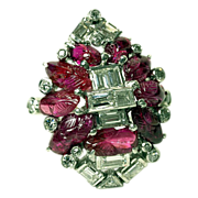 Unique Art Deco Ruby & Diamond Ring with Platinum Mount