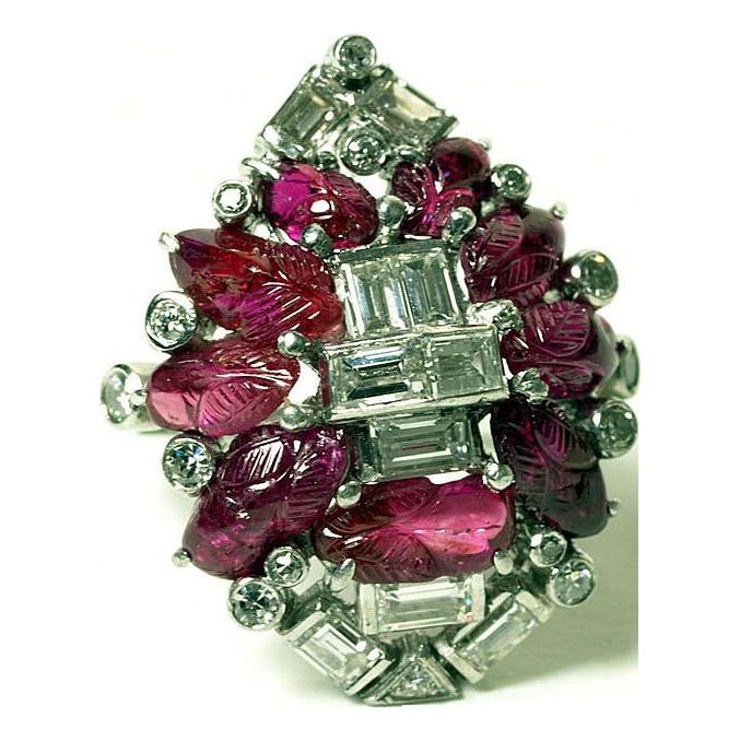 Unique Art Deco Ruby & Diamond Ring with Platinum Mount