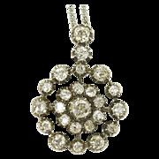 Powerful Victorian Rose Cut Diamond Cluster Pendant