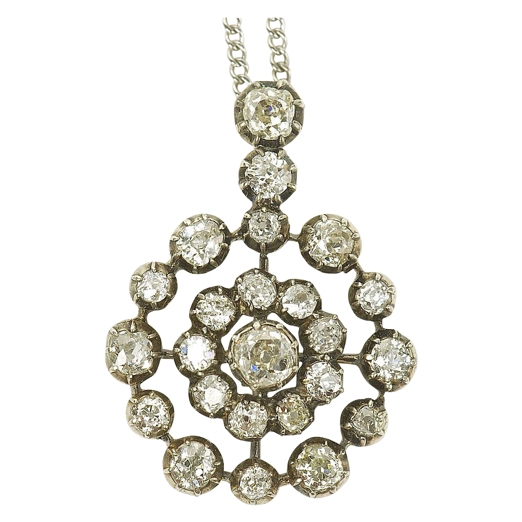 Powerful Victorian Rose Cut Diamond Cluster Pendant