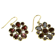 Georgian Garnet Earrings in 18K Gold