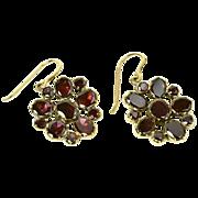 Georgian Garnet Earrings in 18K Gold