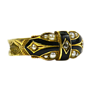 Victorian 15K Yellow Gold Memorial Ring - Chester Hallmark