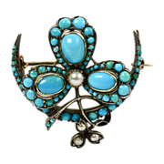 Turquoise Treasure - Lovely Victorian Brooch