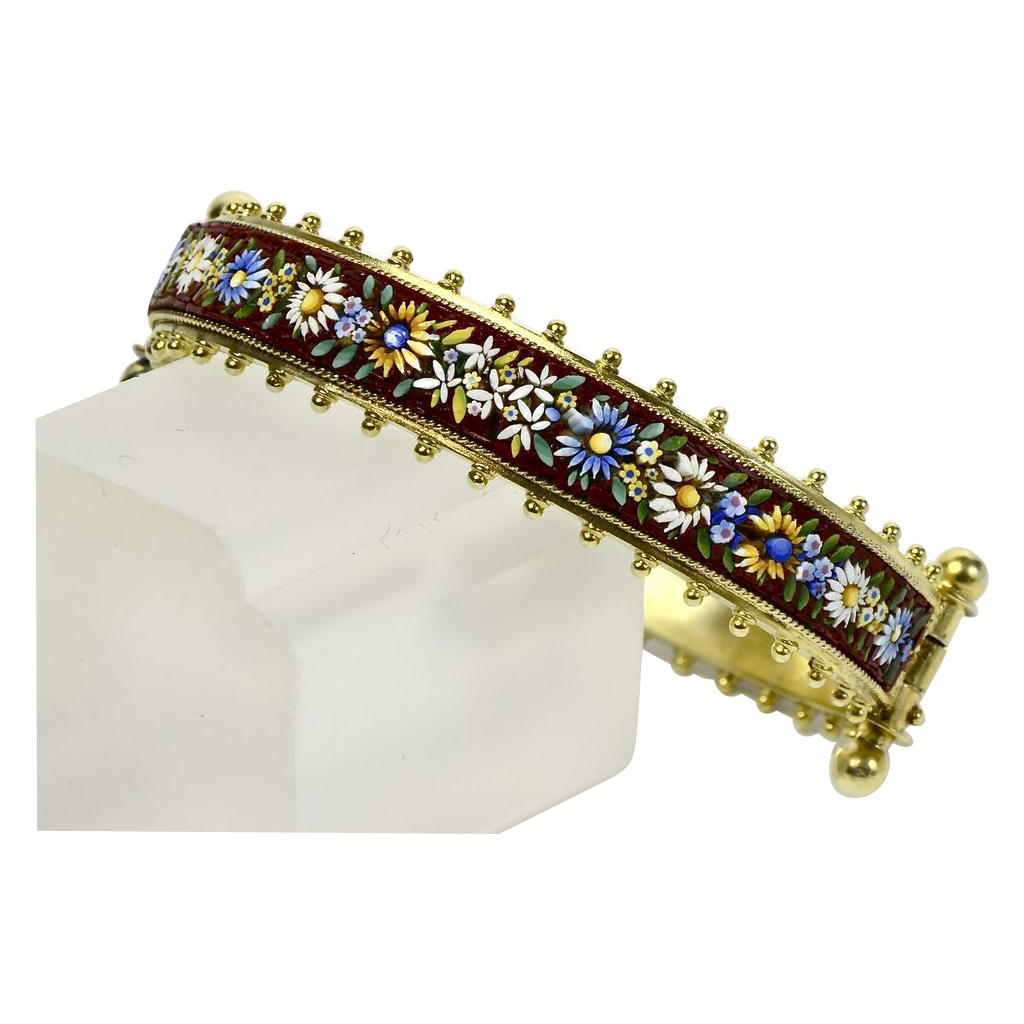 Colorful Micro-Mosaic Bracelet in Silver Gilt