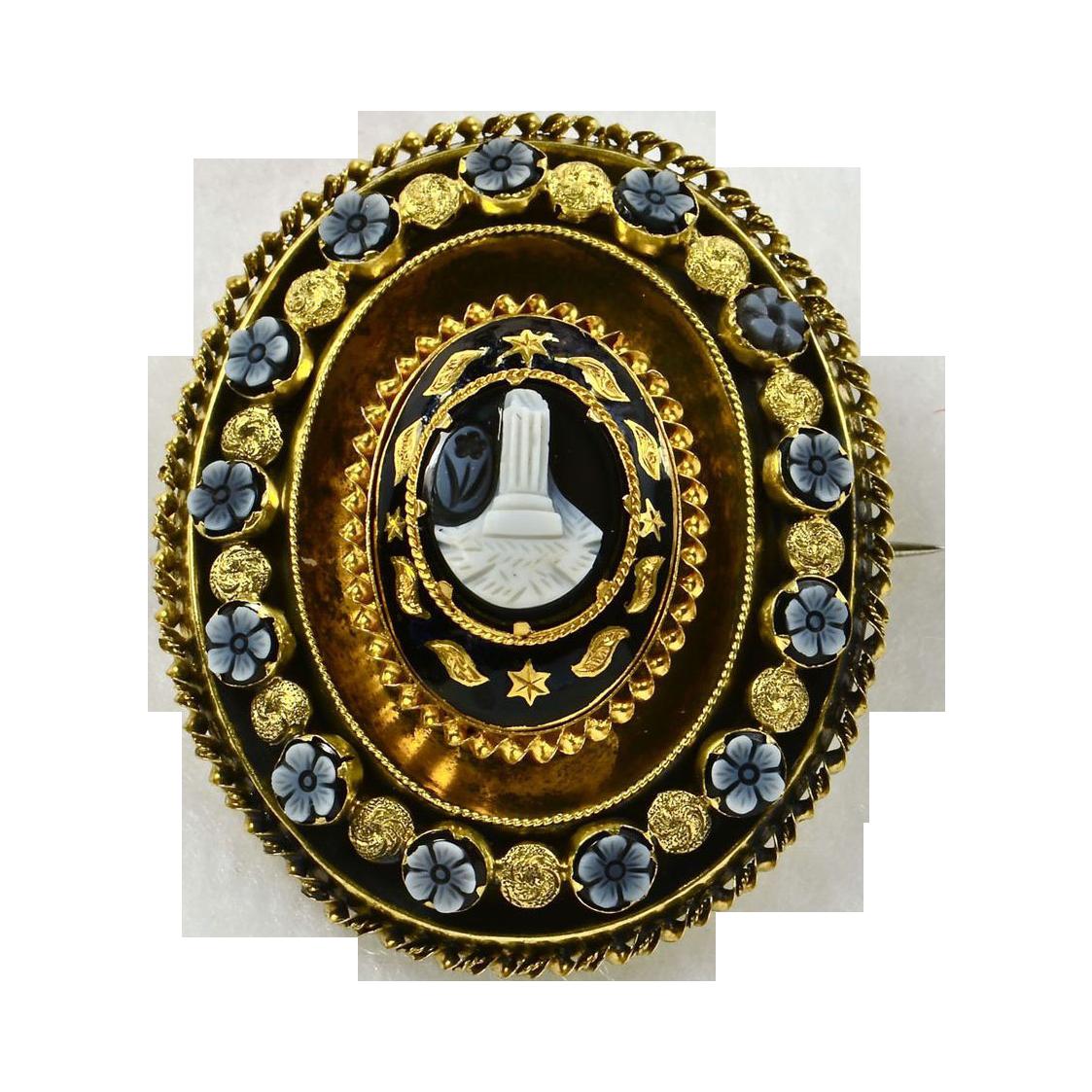 Georgian Carved Agate & 15K Gold Engraved Memorial Brooch