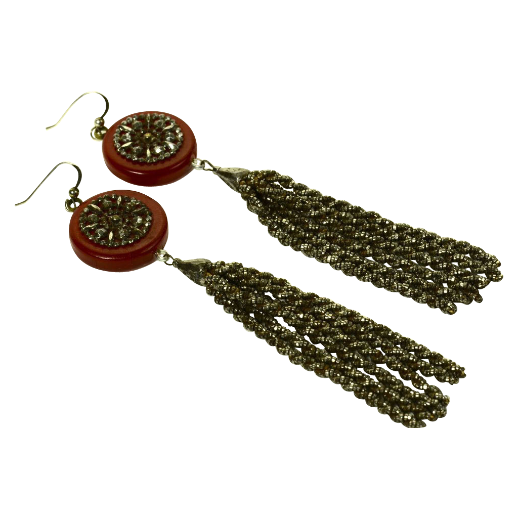 Dramatic Cut Steel Tassels and Bakelite Earrings