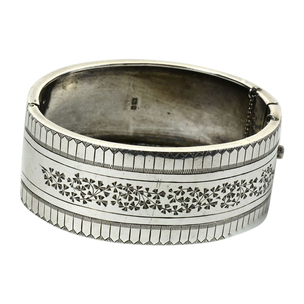 English Sterling Bangle Bracelet Hallmarked 1901-1902