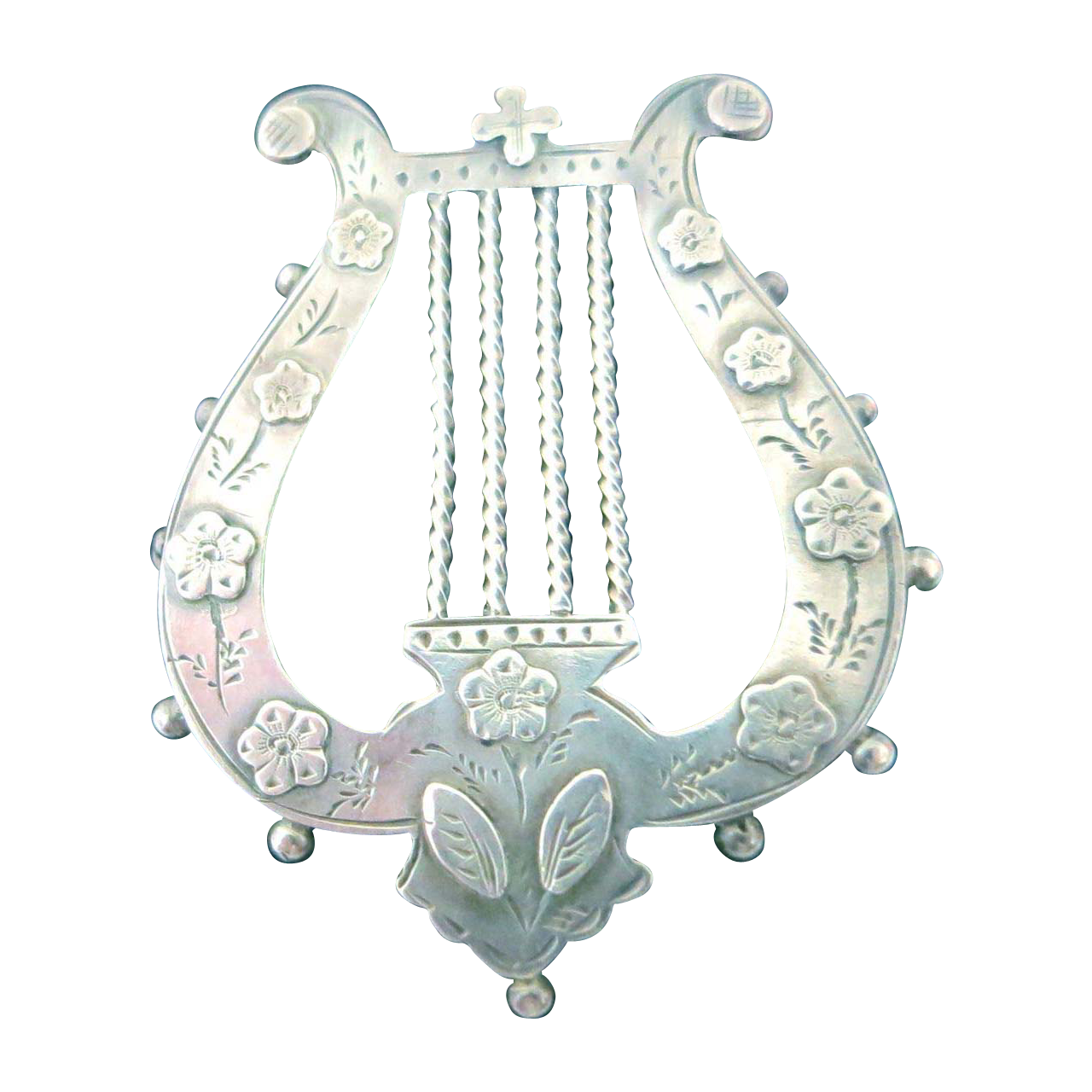 English Victorian Sterling Lyre Brooch