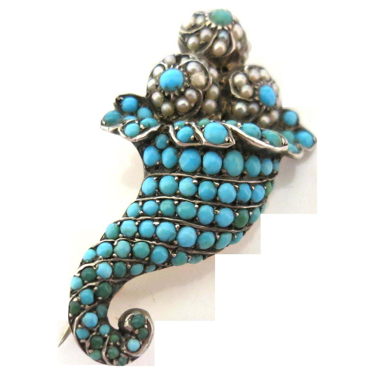 Jeweled Victorian Cornucopia Brooch in 15K Gold