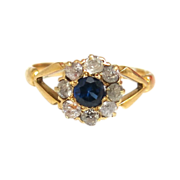 Classic Edwardian Cluster Ring With Diamond & Sapphire
