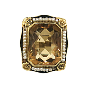 Vintage 1920s Citrine, Pearl & Enamel Ring in 14K White Gold