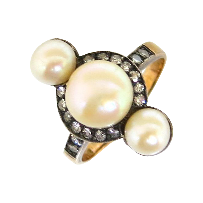 French Art Nouveau Pearl & Diamond Ring