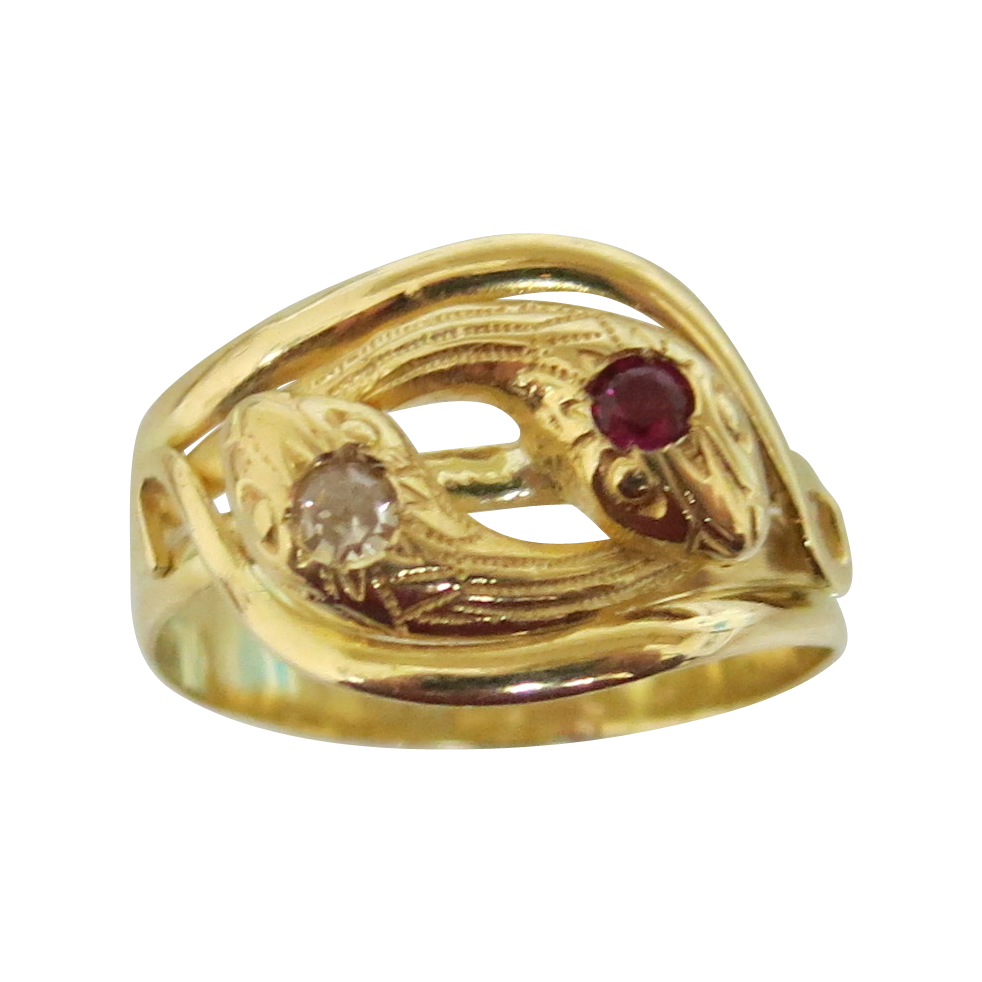 French Victorian 18K Double Headed Snake Ring