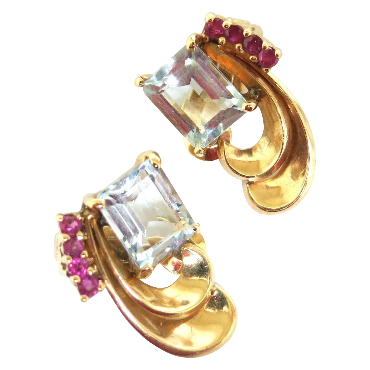 Striking 1940s Aquamarine & Ruby Earrings in 14K Gold