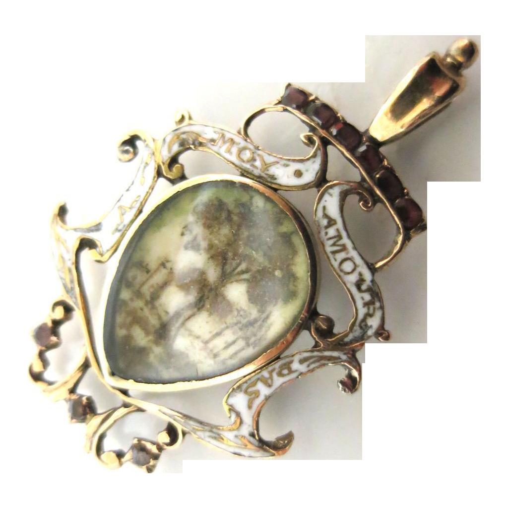 Outstanding Georgian Period FrenchLove Token Pendant Circa 1690-1710
