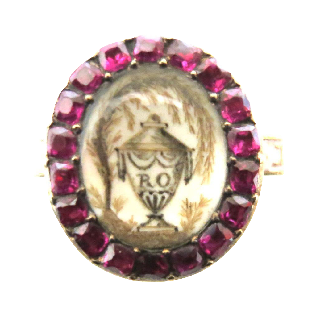 Incredible Georgian Memorial Ring With Rubies
