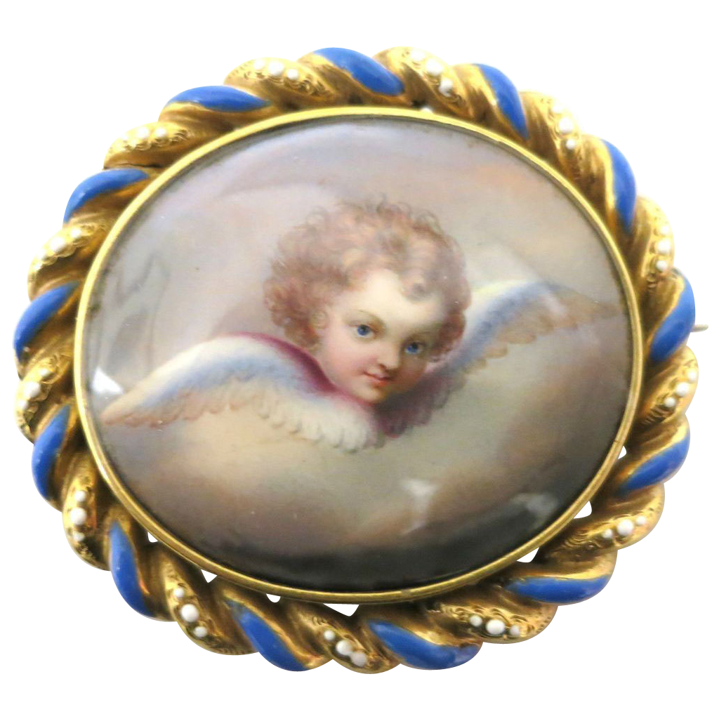 "Wonderful Victorian ""Curly Hair"" Cherub Brooch"