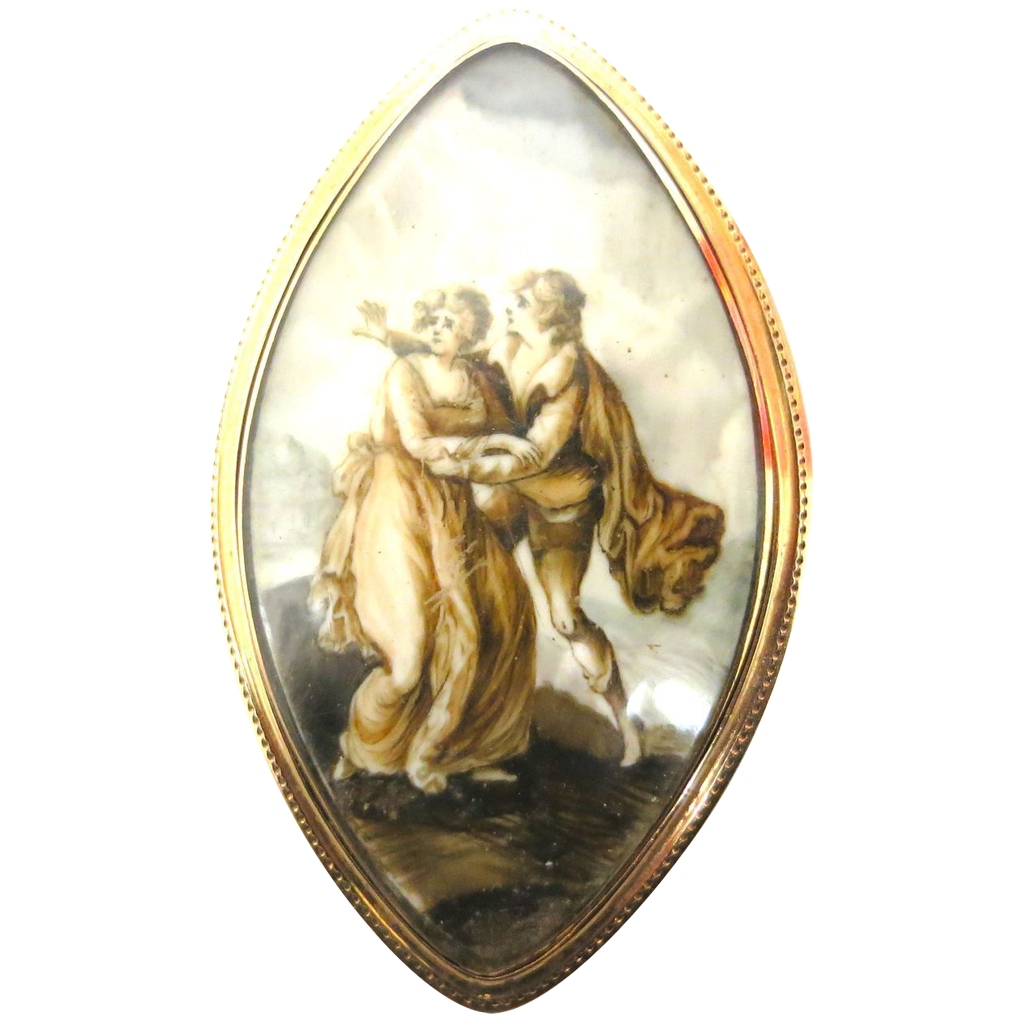 Georgian Period Lovers' Embrace--Exquisite Painting in 18K Gold