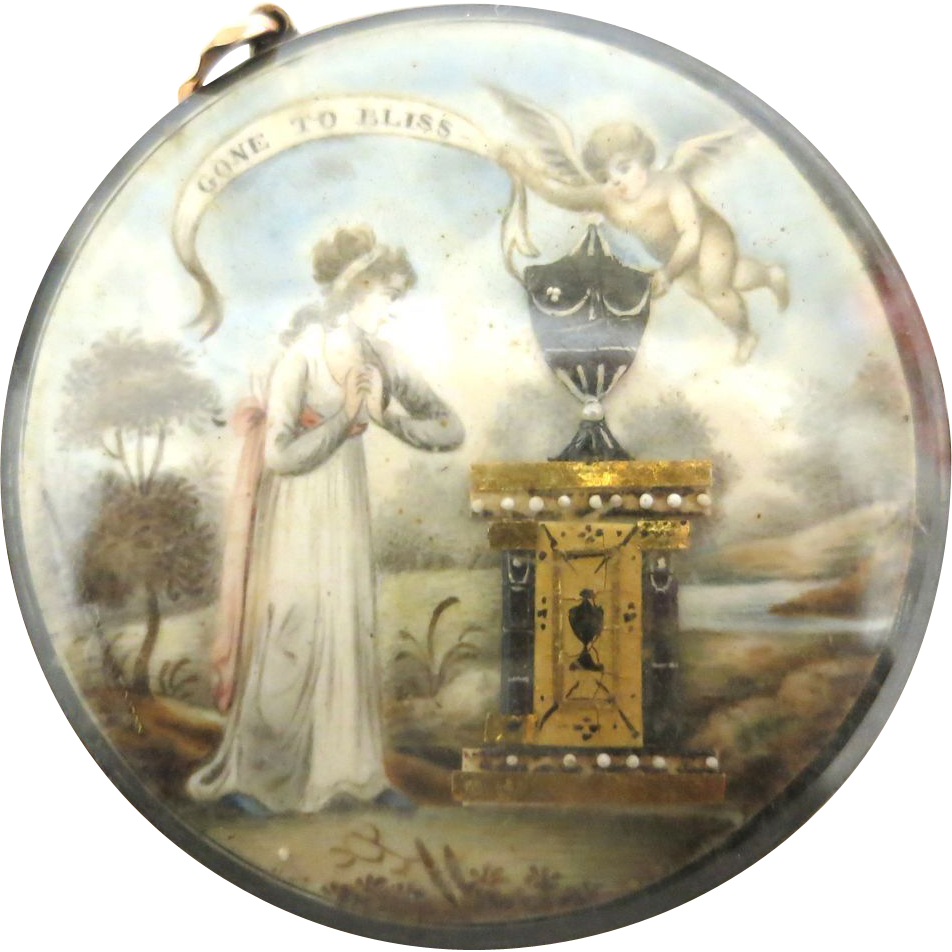 Georgian Memorial Pendant  in Polychrome