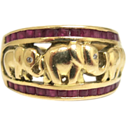 Art Deco Elephant Parade Ring With Rubies
