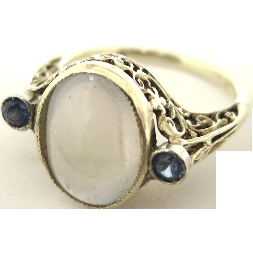 Art Nouveau Krementz Moonstone & Sapphire Ring