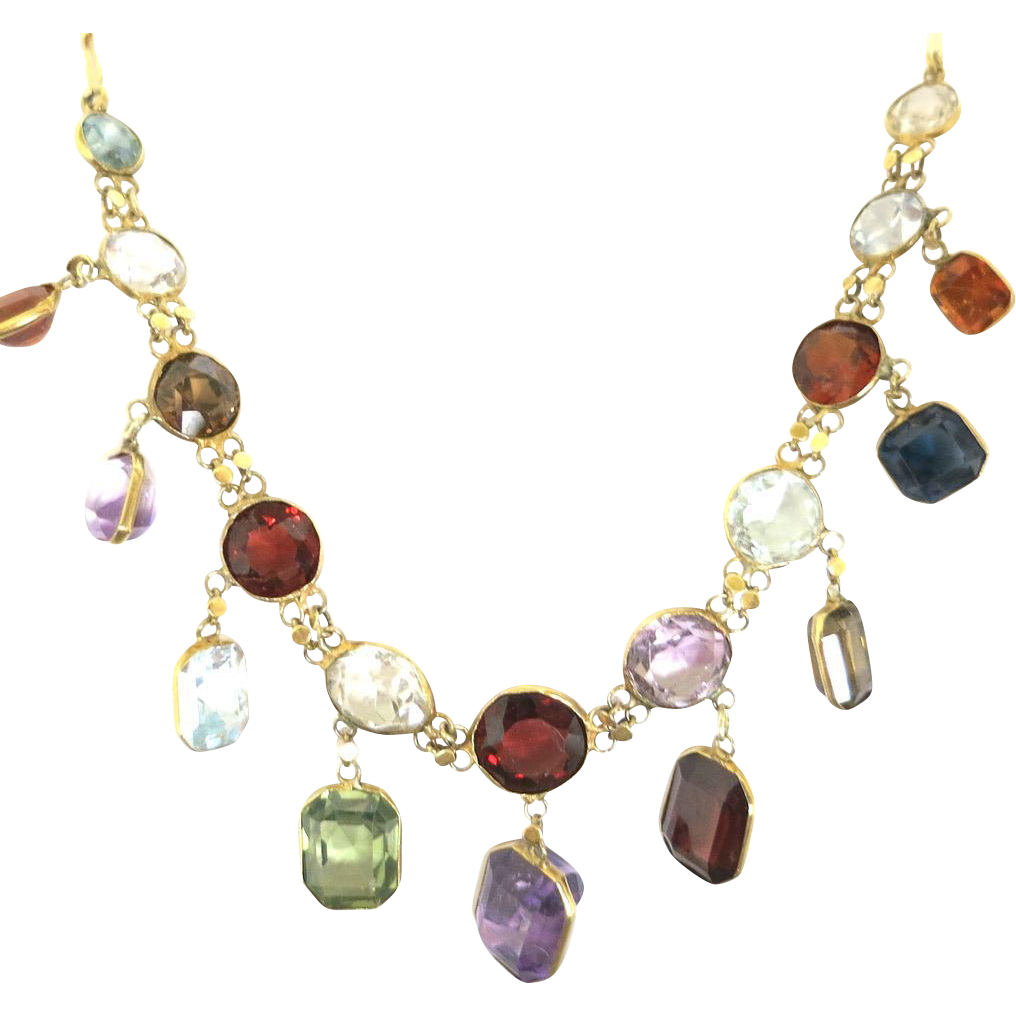 Sparkling Multi Gem Graduating Necklace