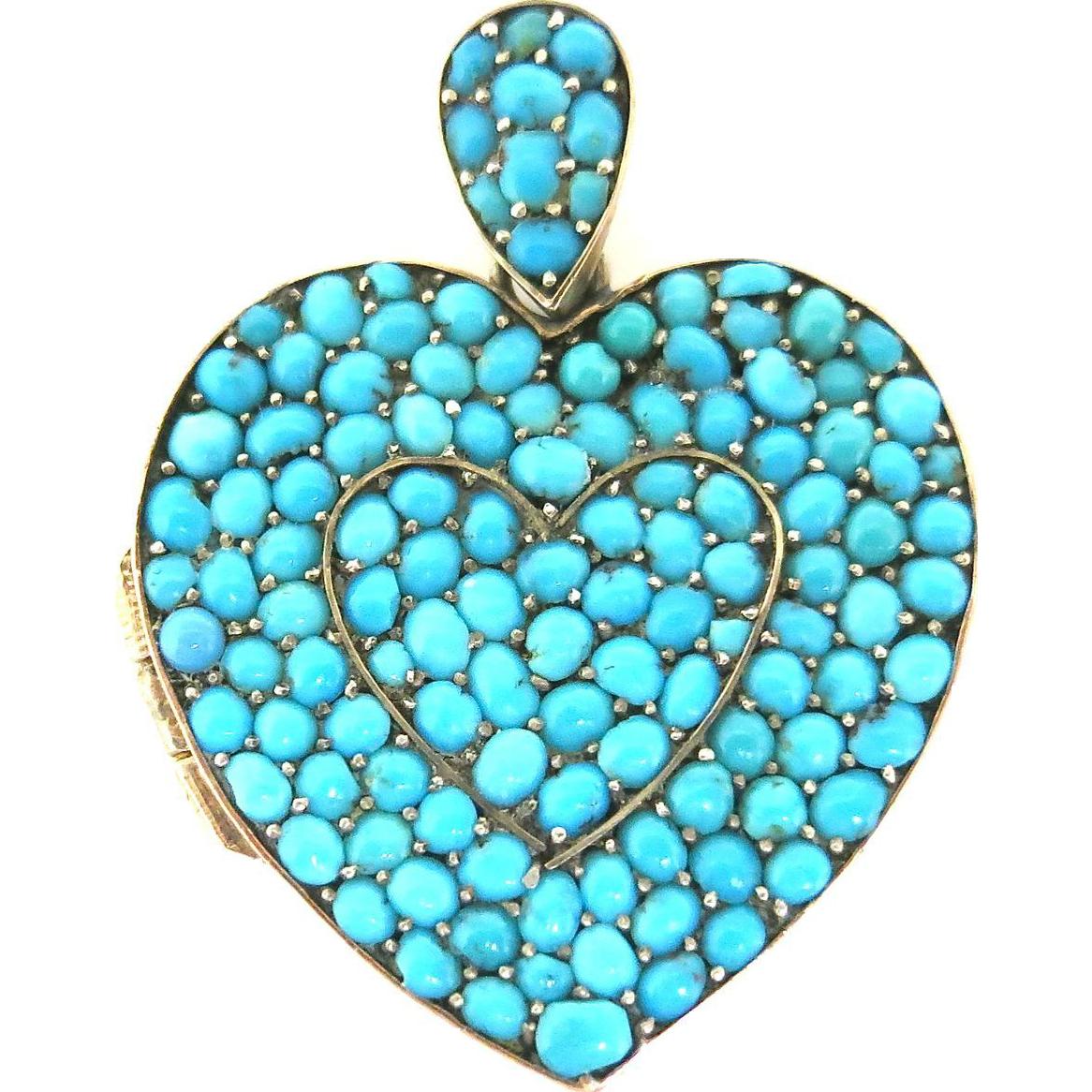 Glorious Victorian Turquoise Heart Locket