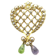 Delicate Victorian 15 K Heart Pendant With Pearls, Amethyst & Peridot