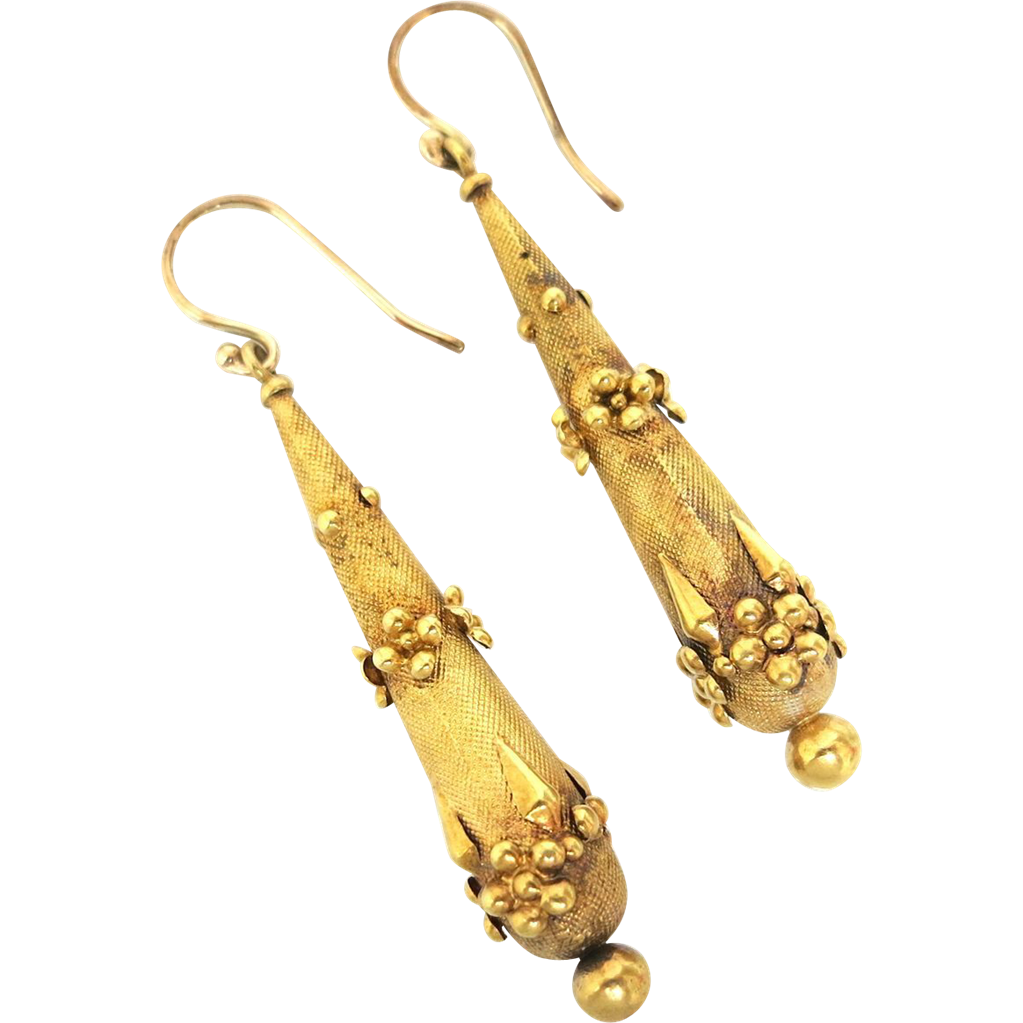 "Georgian ""Torpedo"" Earrings in 15K Gold"