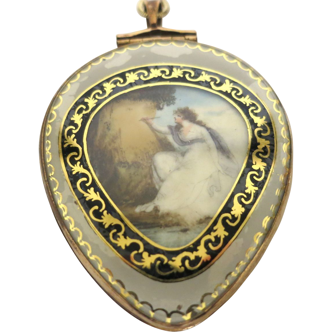 French Georgian Reverse Painted Pendant