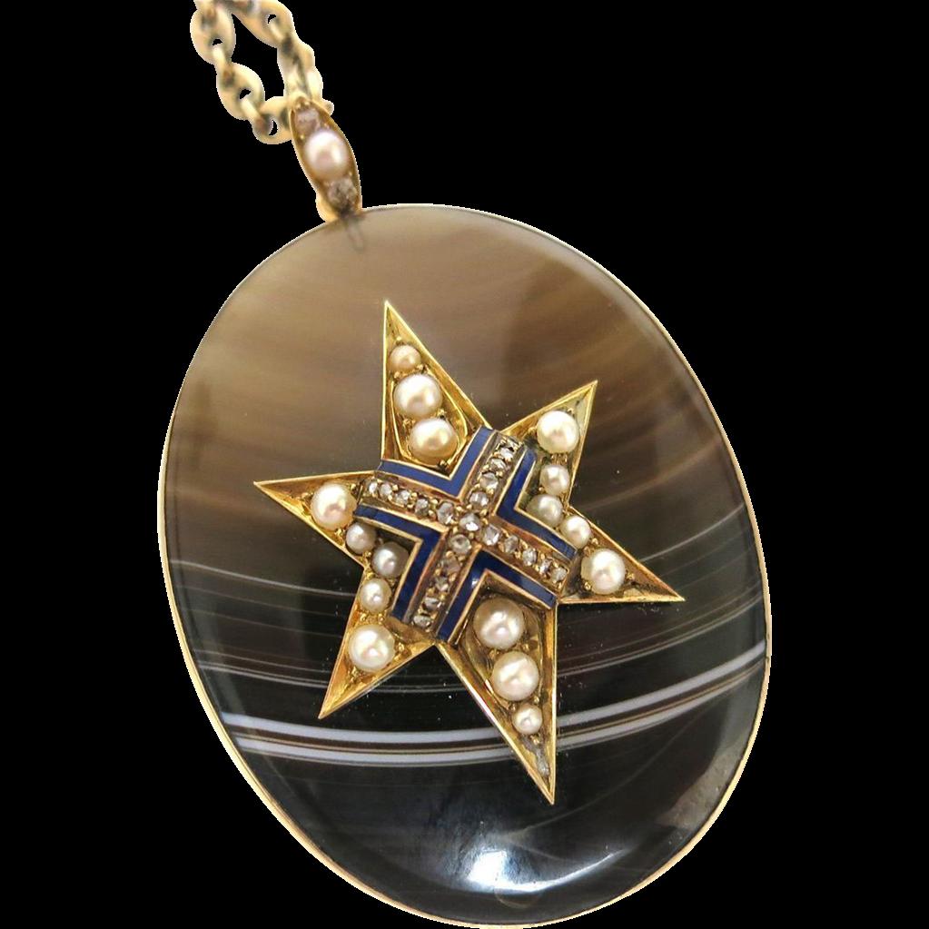 "Dramatic Victorian Agate ""Star"" Pendant"