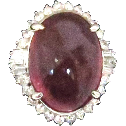 Stunning Rubellite and Diamond Ring in Platinum