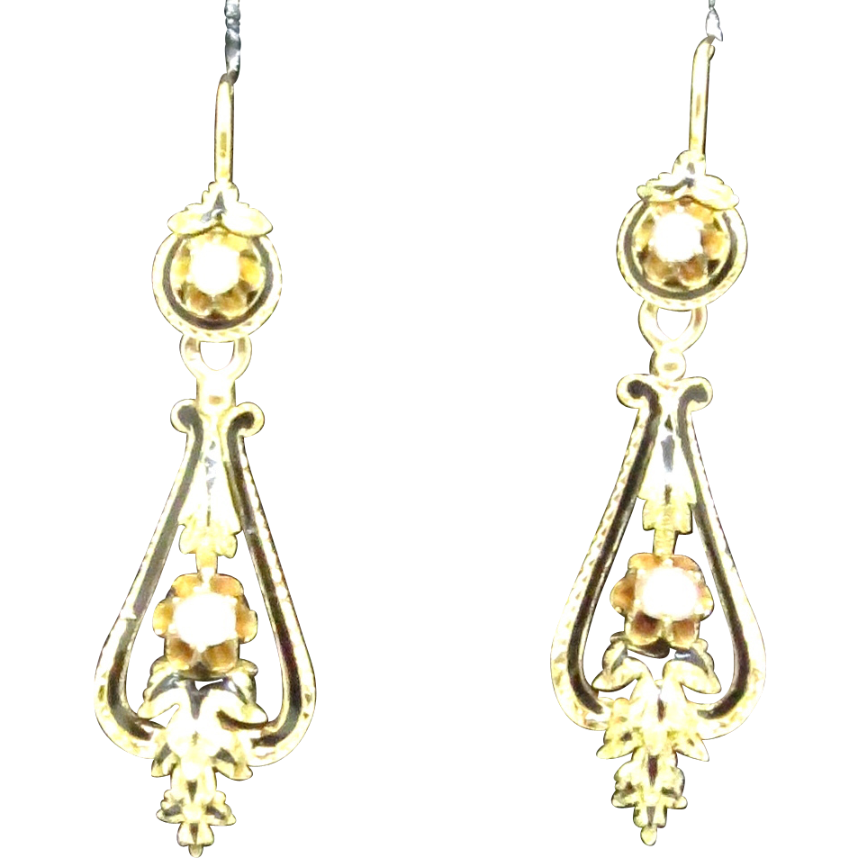 Fabulous French Dangles with Pearls & Enamel