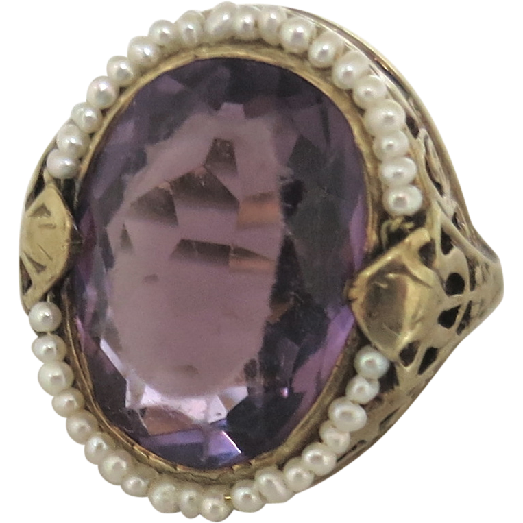Vintage February Birthstone--Amethyst Surrounded By Pearls