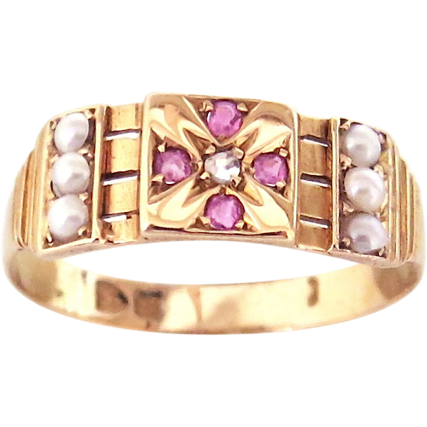 Victorian Ruby & Pearl 15K Gold Ring