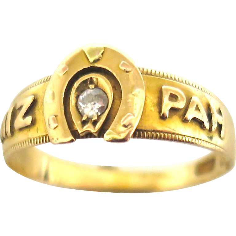 "Victorian ""Mizpah"" Ring in 18K Gold"