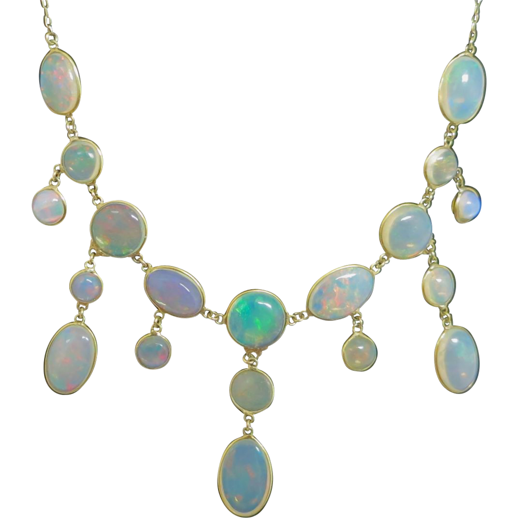 Classy Victorian Opal Necklace IN 14K Gold