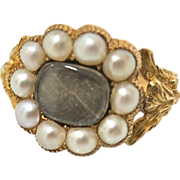 Early Victorian Museum Quality Memorial Ring With Pearls & Hair
