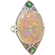 Dramatic Deco Opal & Emerald Ring