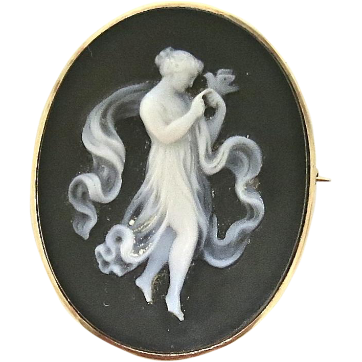 Victorian Full Figure Cameo--Carved Onyx in 14 K Frame